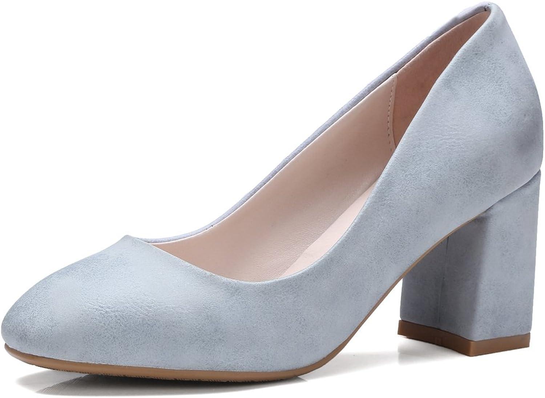 AIWEIYi Ladies Retro Style Round Toe Square High Heels Slip on Platform Pump shoes Black