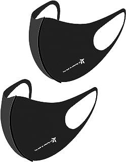 マスク 洗える 快適 UVカット 繰り返し使える 秋マスク プリントデザイン 男女兼用 抗菌 消臭 防汚 秋い季節を快適に 2枚セット(ブラック文字)