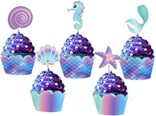 LaVenty Set of 20 Mermaid Cupcake Toppers Mermaid Cupcake Wrappers Mermaid Cupcake Decorations for Birthday Party or Baby Shower