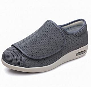 Pantoffels Extra brede, gezellige antislip,Verstelbare klittenband ouderen antislip-wandelschoenen, mesh-voet zwellende sc...