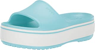 Crocs Womens Unisex-Adult Crocband Platform Slide Blue Size: