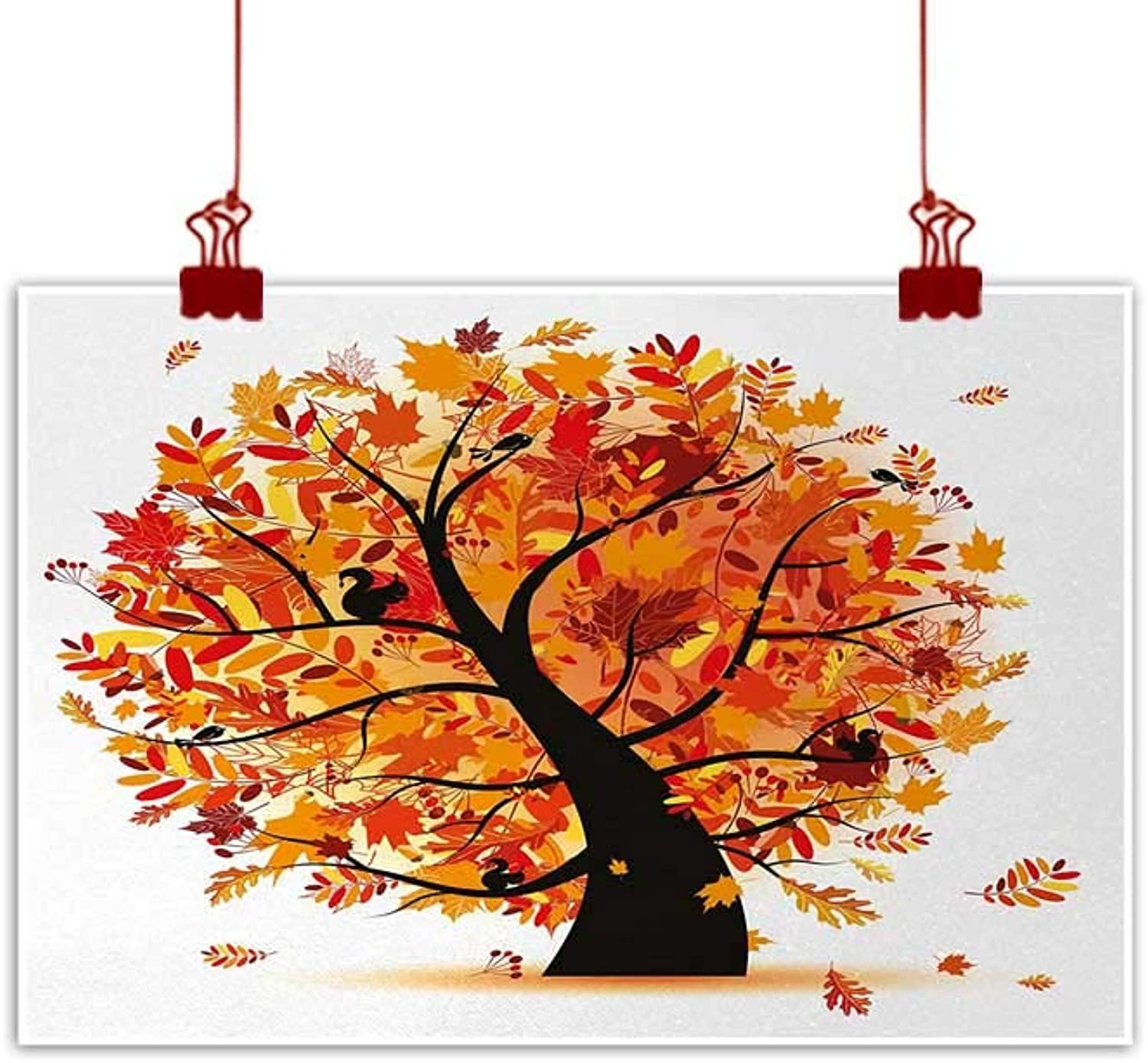 Artwork Office Home Decoration Fall,Curvy Tree with Various Different Falling Leaves Cartoon Style Illustration,Yellow orange Black 48 x32  for Boys Room Baby Nursery Wall Decor Kids Room Boys Gift