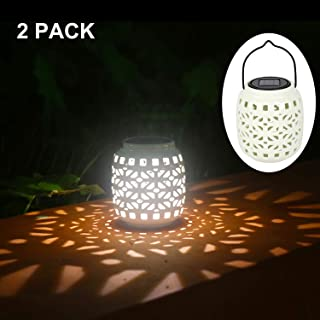 Jar Solar Lantern Lights Hollowed-Out Solar Hanging Ceramic Light for Outdoor Decoration as Lanterns and Table Lights (White) Pack of 2