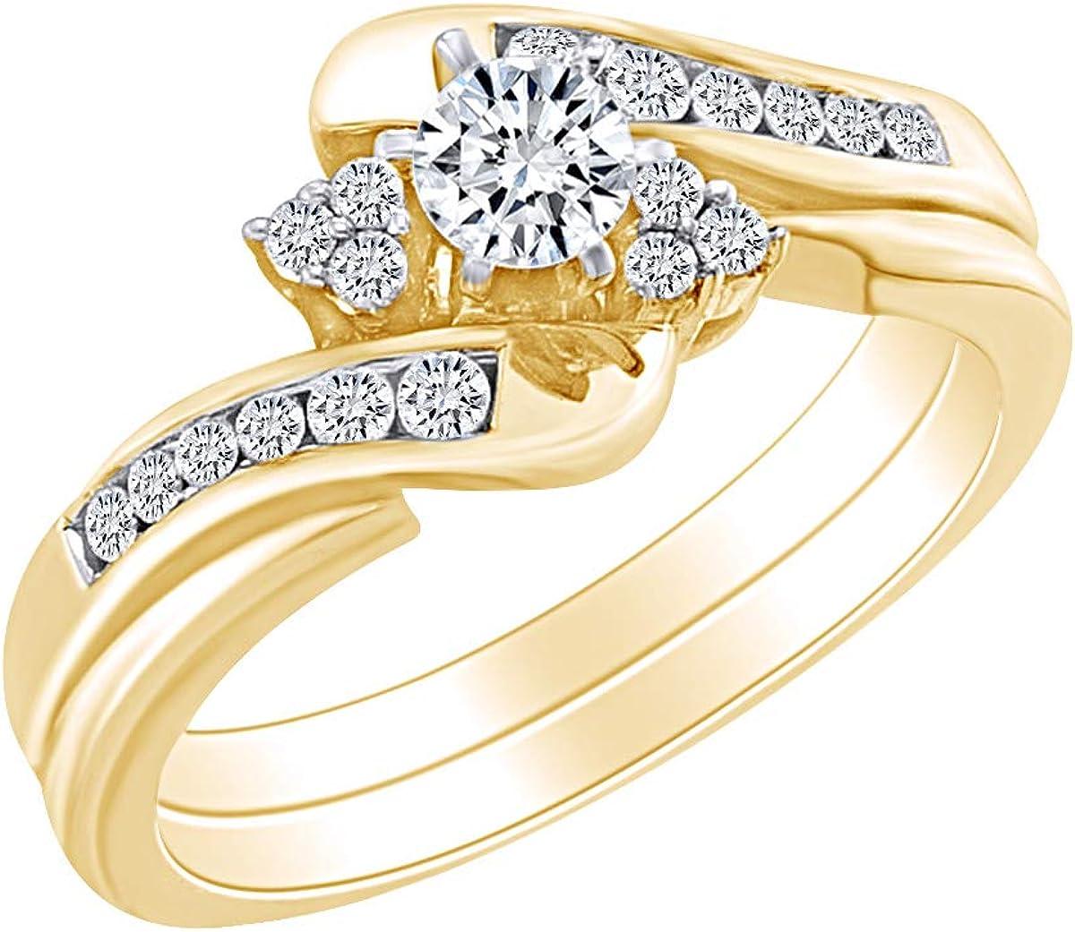 Ranking TOP8 1 2 Cttw Womens Round White Natural Philadelphia Mall Diamond Bypass Bridal Weddin