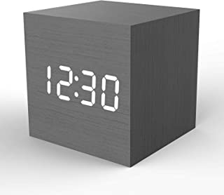 Wooden Digital Alarm Clock Cube Little Clock, Topacom LED Table Clock USB/Battery Powered