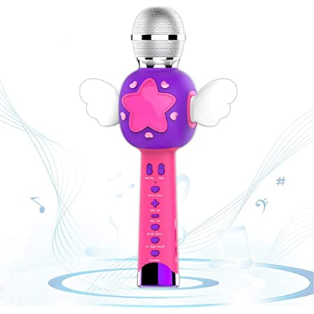 VOZKOM Angel Wing Enfants Karaoké Micro Rose, Enfants Enregistrement sans Fil Microphone, Rechargeable Karaoké Chant Machine Micro Jouet Filles 3 4 5 6 Ans (Bleu & Rose)