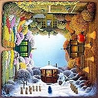 ribenshizixiu クロスステッチ キット 刺繍 手芸用品四季11CT 手芸 Cross Stitch 図柄印刷 初心者 刺繍糸 針 布 家の装飾 壁の装飾(42x52cm)