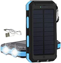 KYNG Electronics Solar Phone Charger Portable 15000mAh With Micro USB Inputs, Quick Charge Solar Power Bank 3 Outputs, External Battery Pack with Flashlight - Shock, Dust, Waterproof