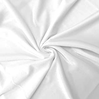 Stretch Velvet Fabric 60'' Wide by The Yard for Sewing Apparel Costumes Craft (1 Yard, White)