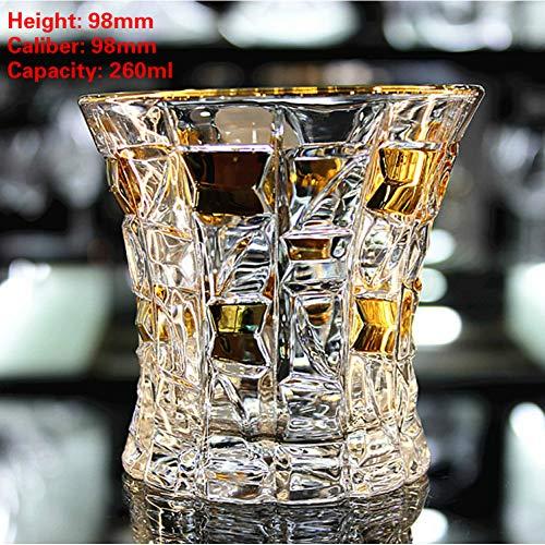 ZKGHJOKZ Whiskyglas Noble Gold Beschrijving Tsjechische Crystal Whiskey Cup Xo Chivas Wijnglazen Whiskyglas Drinkvat Beste cadeau voor papa