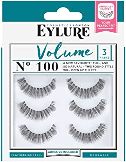 Eylure Volume False Eyelashes Multipack, Style No. 100, Reusable, Adhesive Included, 3 Count