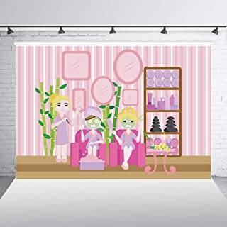 HUAYI 7x5ft Spa Day Party Decor Make Up Backdrop for Kids Spa Theme Teens Girls Birthday Party Baby Shower Dessert Table Banner Poster Pink Striped Photo Background Photo Booth Shoot Props w-2081
