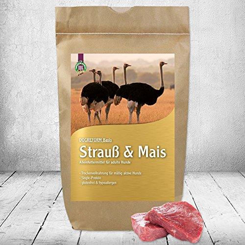 Schecker DOGREFORM Strauß & Mais Trockenfutter 1 x 3 kg Hundefutter hypoallergen glutenfrei