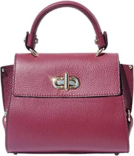 FLORENCE LEATHER MARKET Borsa Bordeaux a Mano con tracolla in Pelle 22x12x19 cm - Sofia - Made in Italy