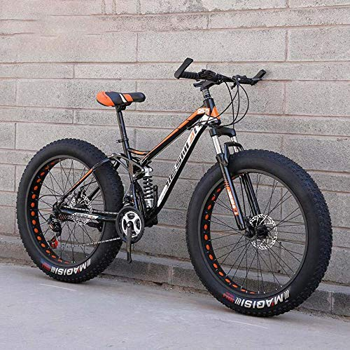 MTB Mountain Bike, 4,0 Pollici Hard Tire Hardtail Mountain Bike Doppio Telaio di Sospensione, Telaio in Acciaio al Carbonio, Doppio Freno a Disco