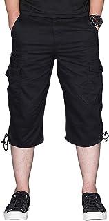 Gopune Mens 3/4 Cargo Shorts Pockets Cotton Combat Long Short Trousers Pants Casual Summer Military Elasticated Waist