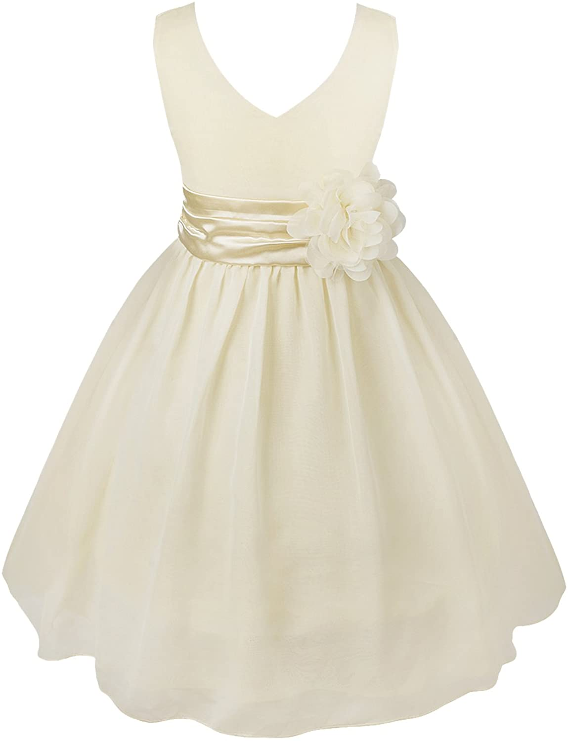 easyforever Kids Girls V-Neck 3D Flower Chiffon Princess Dress Bowknot Back Wedding Pageant Party Ball Gown