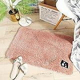 Alfombra suave antideslizante para cuarto de baño, alfombra de piso de la puerta de la suciedad y la barrera semicírculo, cojín de la puerta, alfombra de baño rosa viejo 40 x 60 cm