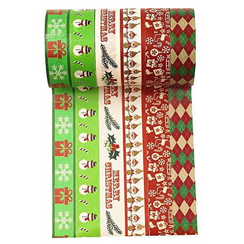 Wise Bird Christmas Washi Tape, Chistmas Decoration Gitf Wrap, Snowman, Gift Box, Merry Christmas, Holiday Argyle Check Grid Pattern, Green Red White Washi Tape set of 6 -W 11