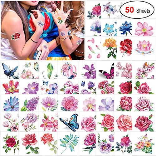 Konsait 50 Blätter Blumen Temporäre Tattoos für Frauen Mädchen, Klebetattoo Rose Lotus Schmetterling Tätowierung Wasserdicht Aufkleber Fake Tattoos Körperkunst