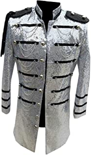 Sodossny-AU Men Blazer Nightclub Stage Chain Long Sequin Glitter Clothes Suit Jacket