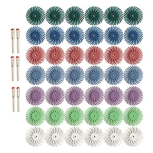 "42pcs 1 Inch Radial Bristle Disc Kit with 1/8"" 3mm Shank for Rotary Tools,Detail Abrasive Wheel for Jewelry Wood Metal Polishing, Bristle Wheel with Grit 80 120 220 400 600 1000 2500"