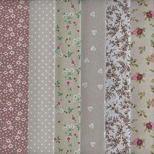 Textiles français Set de telas - 6 telas (marrón, beige y gris) - colección de telas de coordinación (pequeños diseños)   100% algodón   46 cm x 56 cm