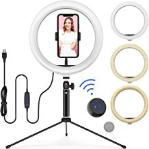 10� LED Ring Light with Tripod Stand Adjustable & Phone Holder, Bluetooth Remote Shutter for Makeup/Live Stream/YouTube Video/Photography, Compatible with iPhone/Android - WONEW ZJ02