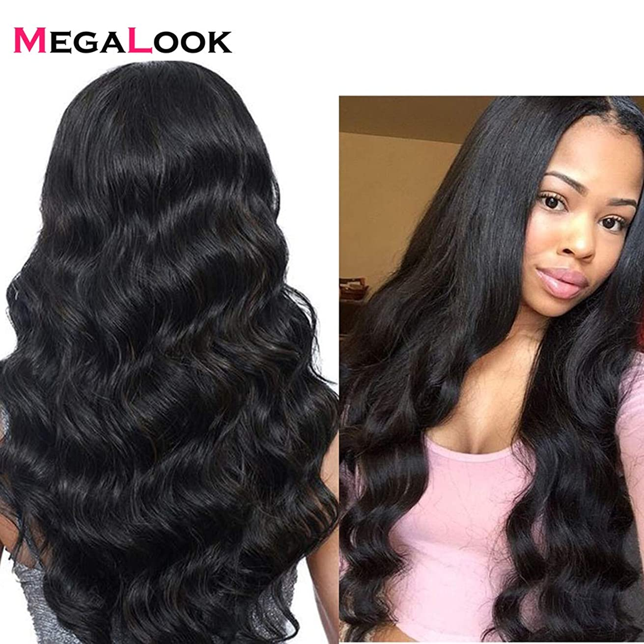 Megalook 360 Lace Frontal Wig Pre Plucked with Baby Hair 18inch Body Wave Brazilian Human Hair Wigs 360 Lace Wigs Human Hair Natural Hairline 150% Density