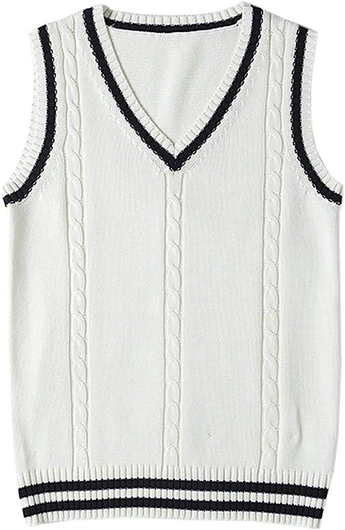 1920s Style Mens Vests Firehood Womens Cable Knit V Neck Sleeveless Twist Uniform Sweater Vest Pullover $21.99 AT vintagedancer.com