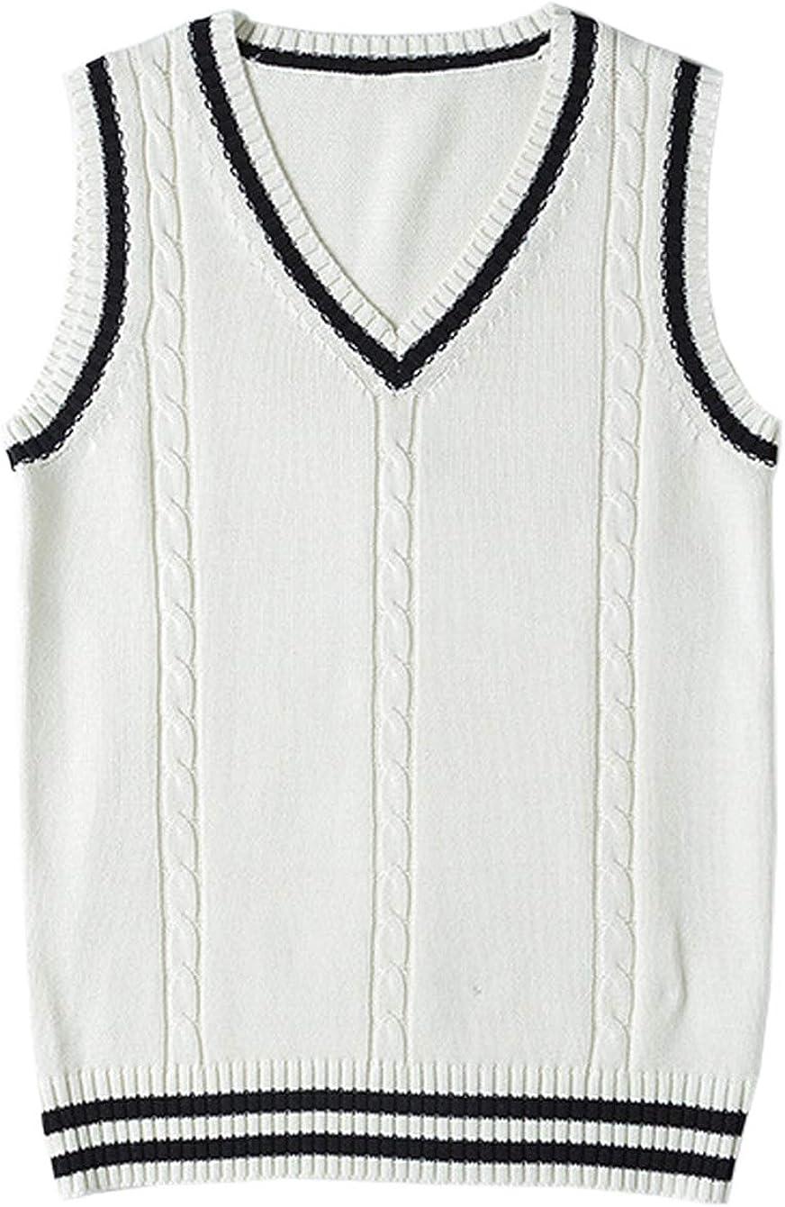 Firehood Womens Sweater Vest Sleeveless Neck School Knit High order V Inexpensive