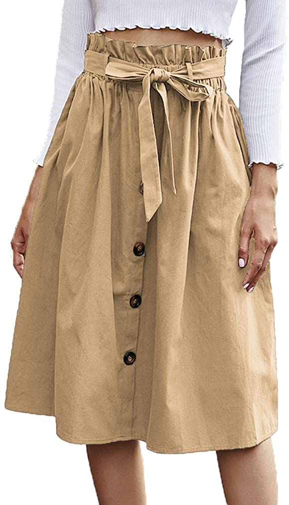 Naggoo Womens Casual Button Front A Line Skirts Belted High Waist Midi Skirt with Pockets