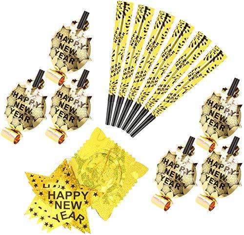 com-four® 13-teiliges Silvester Party-Set - Goldfarbene Girlande, Tröten und Trompeten für Silvester für 12 Personen - Neujahrs-Party Happy New Year - 2020 (Set03-13-teilig)