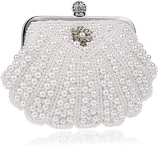 Womens Evening Bag Pearl Shell Handbag fit Wedding Party Beautiful Luxury Purses Dress Dinner Bag,White,4 * 19 * 14cm