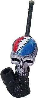 Handmade Tobacco Grateful Dead Lightning Bolt Skull Figurine Smoking Pipe
