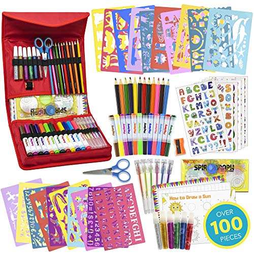 Stencil Drawing Kit for Kids, 100 Piece Set with 300 Stickers, 540 + Stencil Shapes, Spirograph, Art and Craft Supplies, Gel Pens, Colored Pencils, Paper, Carry Case & More, STEM Toys For Boys & Girls