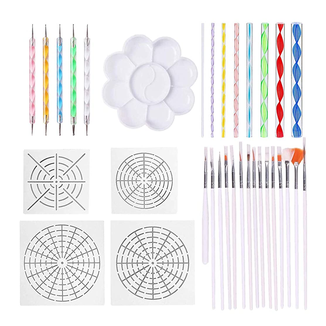 33 Pieces Dotting Tool Set for Mandala Rock Painting, Nail Art Painting, Drawing & Embossing Pattern, Clay Sculpting and Kids' Crafts