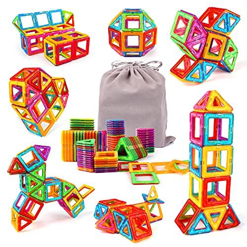 KIDCHEER Bloques Magneticos 64 Piezas Juego Construccion Magnetico Juguetes Magneticos para Niños, Juguetes Infantiles Educativos con Bolsa de Almacenamiento para Chico Niñas de 2 3 4 5 6 7 8 9 Años