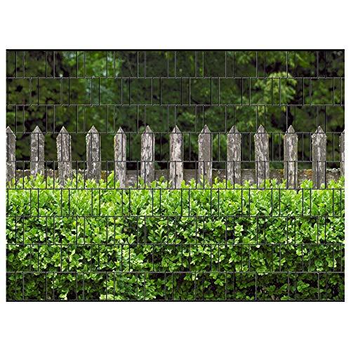 PerfectHD Zaunsichtschutz - Motiv Holzzaun und Buxus - Sichtschutz für den Garten - 2,50 x 1,80 x 0,19 m - 9 Streifen - 30 Varianten