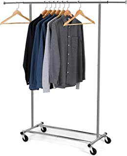 Bextsware Clothes Garment Rack, Commercial Grade Clothes Rolling Heavy Duty Storage Organizer on Wheels with Adjustable Clothing Rack, Holds up to 200 lbs, Chrome (One Head)