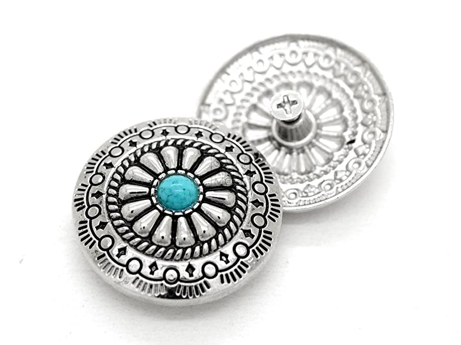 CRAFTMEmore Decorative Concho Turquoise Flower Native American Navajo Wallet Cowboy Screw Buttons Leather Craft 1 1/8 Inch 2PCS CHS55 (Silver)