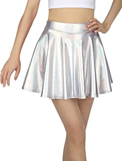 HDE Girl's Metallic Skater Skort Dance Athletic Shiny Holographic Scooter Skirt