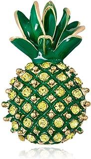 Pineapple Brooch Pin, Womens Ladies Fashion Golden Crystal Tropical Fruit Jewelry Enamel Lapel Pin