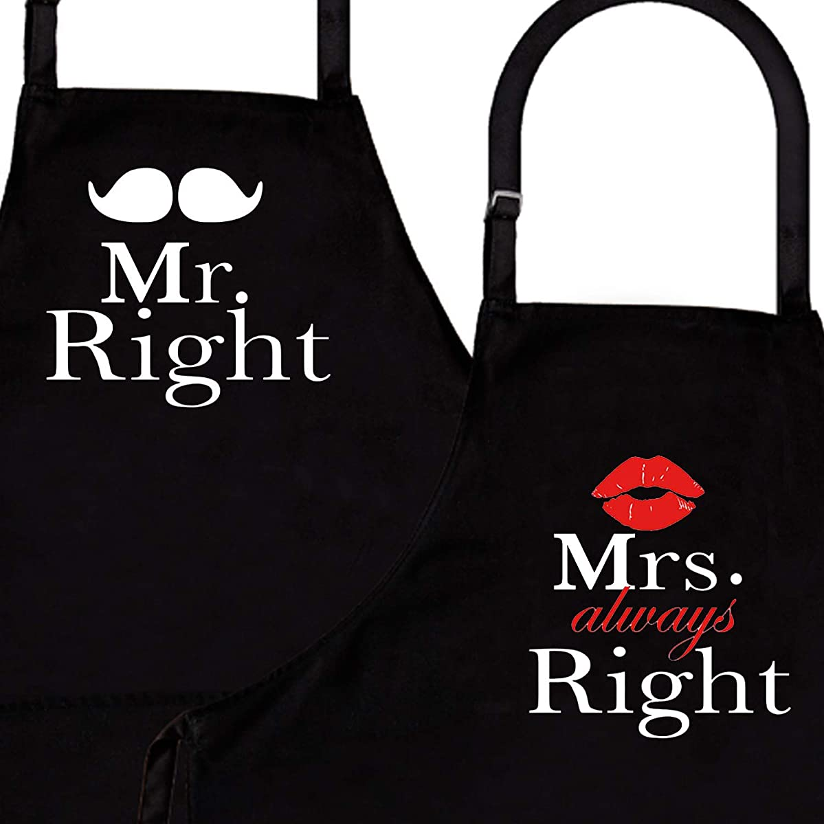 IDOXE Mr. Right and Mrs. Always Right 2-Piece Kitchen Apron Set - Matching Engagement Wedding Anniversary Bridal Shower Gift for Bride