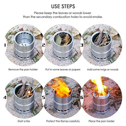 Product Image 3: CANWAY Camping Stove, Wood Stove/Backpacking Stove,Portable Stainless Steel Wood Burning Stove with Nylon Carry Bag for Outdoor Backpacking Hiking Traveling Picnic BBQ