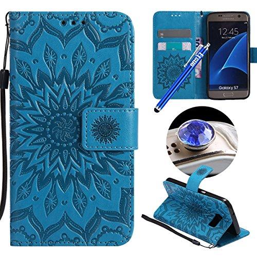 Etsue Kompatibel mit Samsung Galaxy S7 Handytasche Brieftasche Hülle Bookstyle Schutzhülle Mandala Blumen Leder Hülle Handyhülle Flip Hülle Vintage Wallet Case Cover Ledertasche Schutz Hülle,Blau