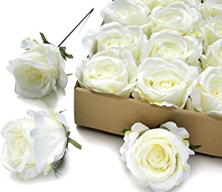 MaxFlowery Large Premium Silk Tea Roses with Wire Stems 20/ Box, Faux Handcrafted Flowers for Floral Arrangement Wedding Home Indoor Outdoor Decoration (Cream)