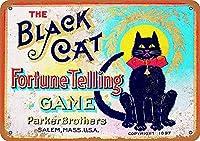 黒猫の調子を告げるゲーム壁錫サイン金属ポスターレトロプラーク警告サインヴィンテージ鉄の絵画の装飾オフィスの寝室のリビングルームクラブのための面白いハンギングクラフト