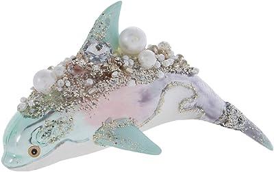 Rhinestone, Pearl & Glitter Blown Glass Nautical Christmas Tree Ornament Set Beach Theme Ornaments (Dolphin)