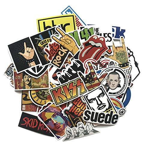 Hangarone Rock and Roll Sticker 52Stk, Sticker Bomb Pack für Guitar Drum Headphones Laptop Musik Sticker (Rock and Roll Sticker)